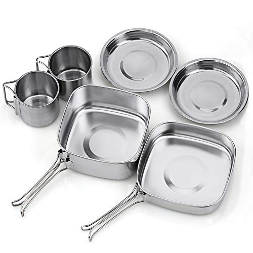 Tafond Camping Cookware Pot Set Outdoor Mess Kit Stainless Steel Camping Cook Set for Hiking Backpacking Trekking Picnic