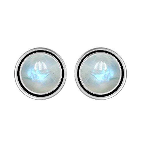 Natural 8mm Round Shape Rainbow Moonstone Stud Earrings 925 Silver Plated Handmade Stud Earrings Jewelry For Women Girls