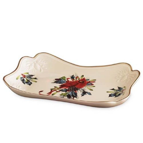 Lenox Winter Greetings Carved Canape Plate