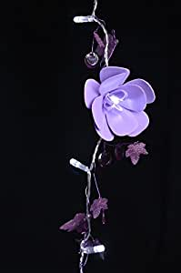 Fantado 20 LED Garland Light Chain w/ EVA Flowers and Beads - Purple by PaperLanternStore