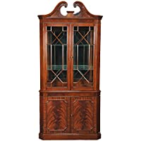 Rich Mahogany Corner Curio Display Cabinet