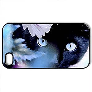 BLUE EYES - Case Cover for iPhone 4 and 4s (Cats Series, Watercolor style, Black)