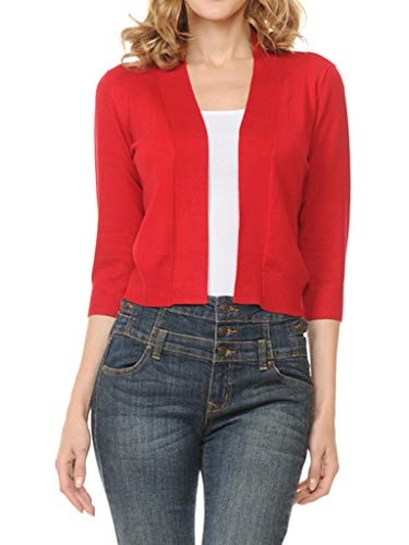 Urban Look Women's Basic 3/4 Sleeve Open Front Light Weight Sweater Cardigan (S-XL) (Small, Red)