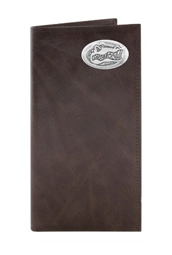 NCAA Florida Gators Brown Wrinkle Leather Roper Concho Wallet, One - Wallet Brown Ncaa