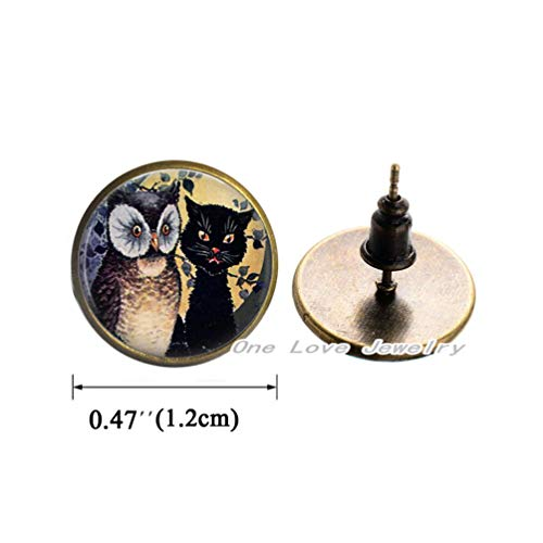 - Ni36uo0qitian0ozaap Owl and cat Photo Earrings Stud Earrings or Key Chain Altered Art Jewelry Glass Earrings Fall, TAP400
