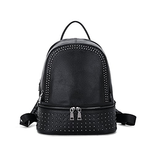 Price comparison product image Backpack Genuine Leather Women Backpack Fashion School Backpack luxury Women Shoulder Bag Shoulder Bag Women Black Medium