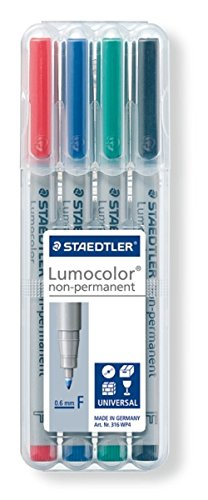 Staedtler Lumocolor Non-Permanent Fine Point Markers, 0.6mm F, Assorted, 4 Count (STD316WP4A6) (Wet Erase Fine Point compare prices)