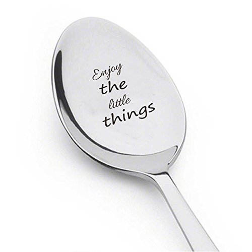 Spoon Steel Stainless Boston (Boston Creative company Enjoy The Little Things, Silverware Engraved, Stainless Steel Spoon, Cute Unique Gift)
