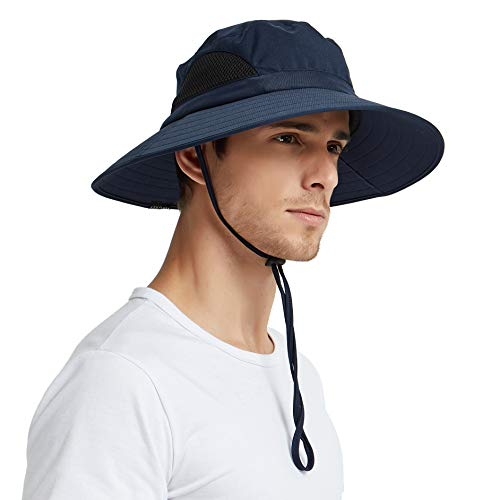 EINSKEY Sun Hat for Men/Women, Outdoor Sun Protection Wide Brim Bucket Hat Waterproof Breathable Packable Boonie Hat for Safari Fishing Beach Golf (Navy Blue) - Bucket Brim Large