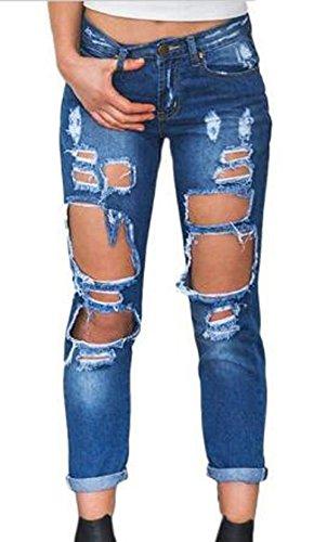 Moda Lungo Denim Rotto Navy Donne Pantaloni Buco Trousers Blu Jeans qxaYnCwt