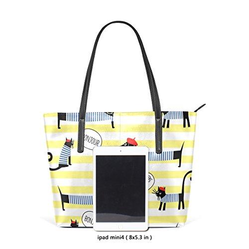 COOSUN Hunde Katzen Streifen PU Leder Schultertasche Handtasche und Handtaschen Tasche für Frauen