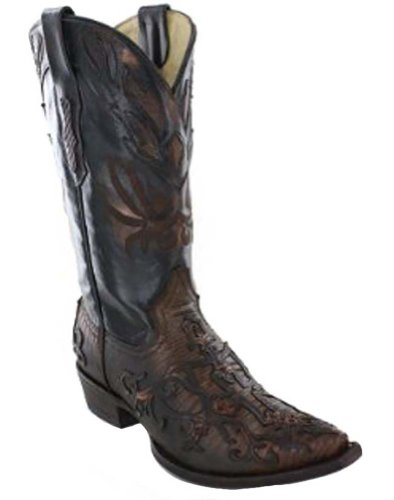 - CORRAL Men's Cognac Teju Lizard Fancy Cross Overlay Snip Toe Cowboy Boots C1163 (7 D(M) US)