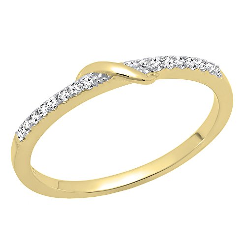 0.10 Carat (ctw) 10K Gold Round White Diamond Ladies Anniversary Wedding Band 1/10 CT