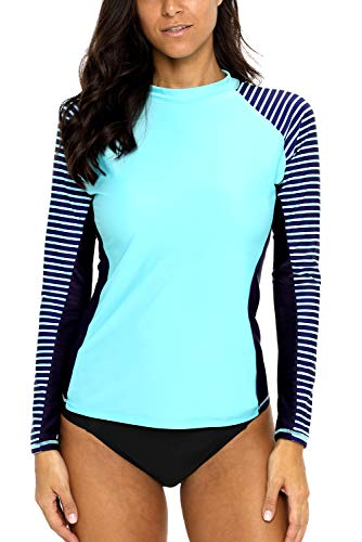 CharmLeaks Women Rash Guard Long Sleeve Swim Shirts Striped UV Swimsuit Tops