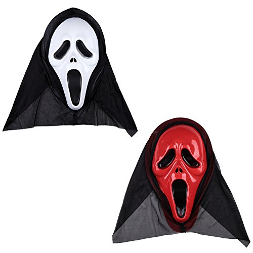 [Neodot Ghostly Face Scream Mask for Halloween Costume Party and Other Types of Parties 2 Sets] (Scream Mask)