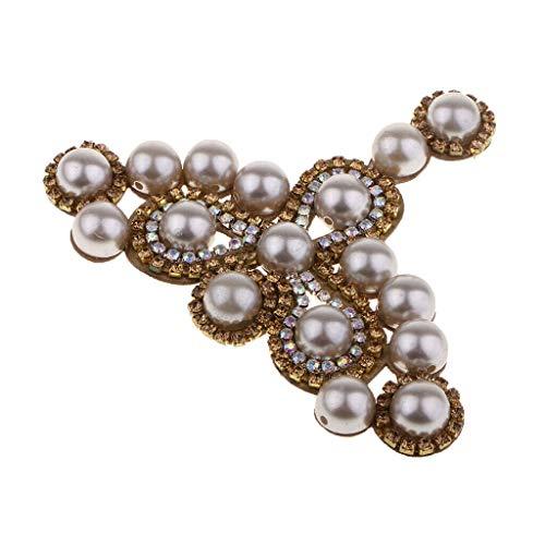 (Flower Sew on Pearl Rhinestone Applique Trim Bridal Dress Sash Sewing Craft)