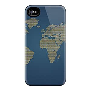 Iphone 4/4s Cover Case - Eco-friendly Packaging(orange Dots World)