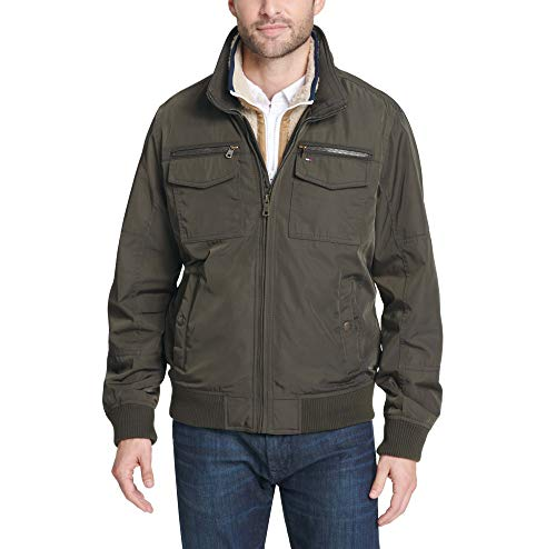 (Tommy Hilfiger Men's Big Tall Poly-Twill Two Pocket Performance Bomber Jacket, Army Green, 3XT)