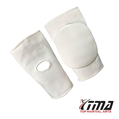 Professional Muay Thai Velcro - TMA MMA Knee Pads Caps Protector Brace Support volleyball Guards Muay Thai (M, White)