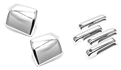 (Sizver Chrome Door Handle+Door Mirror Cover For 15-17 Ford F150)