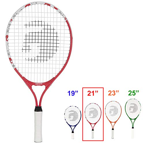 Gamma Sports Junior Tennis Racquet: Quick Kids 21 Inch Tennis Racket – Prestrung Youth Tennis Racquets for Boys and Girls – 93 Inch Head Size – Red
