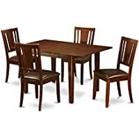 East West Furniture PSDU5-MAH-LC 5-Piece Dinette Table Set