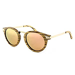 RawWood Ottawa Wood Metal Zebrawood Polarized Wooden Sunglasses