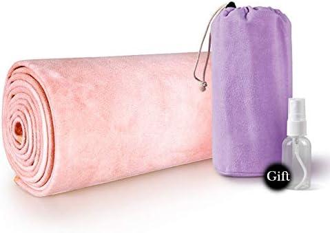 Toalla antirresbaladiza de yoga para colchonetas (72inx24in) en tela, portátil, microfibra y cubierta de silicona, bolsa de transporte gratuita, adecuada para yoga caliente, yoga de alta temperatura: Amazon.es: Hogar