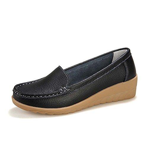 T-july Mocassins Chaussures Pour Femmes - Slip Décontracté Sur Bout Rond Anti-dérapant Bas Coin Confortable Penny Noir