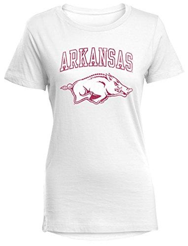 Camp David NCAA Arkansas Razorbacks Perfect Women's Crewneck Tee, White, Medium
