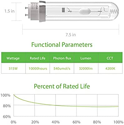 CMH 315 Grow Bulb Ceramic Metal Halide Grow Lamp with Optimized Spectrum iGrowtek CMH 630W 4200K Grow Light Bulb