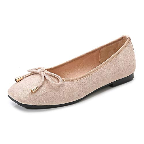 Meeshine Womens Buckle Slip On Loafer Casual Low Flats Square Toe Shoes Bow Apricot 8 ()