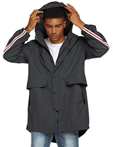Windbreaker Rain Jacket Rain Outerwear Men Heavyweight Rain Coat Dark Grey XL