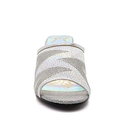 Womens Low Mid Kitten Heels Diamante Sandals Ladies Bridal Wedding Prom Shoes UK Silver huGMd7qUj