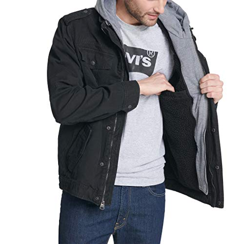 Levi's Men's Washed Cotton Military Jacket with Removable Hood (Standard and Big & Tall) 5