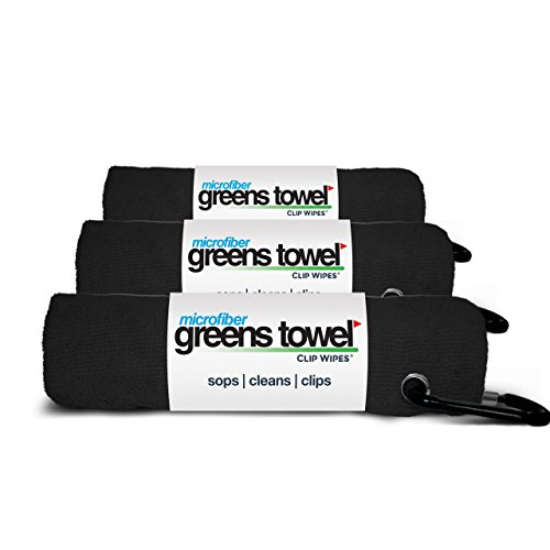 (3 Pack of Jet Black Microfiber Golf Towels)
