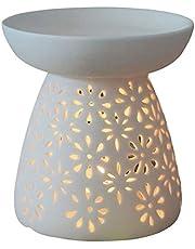 DELIWAY Ceramic Tea Light Holder/Wax Melt Warmer, Great Essential Oil Burner Aromatherapy Diffuser for Living Room, Balcony, Spa Yaga Meditation (White, 80ML)