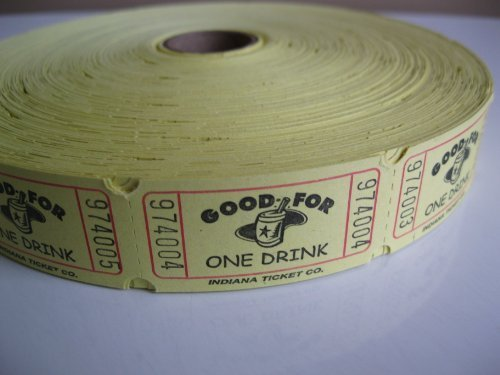 2000 Yellow Good For One Drink Single Roll Raffle Tickets for $<!--$6.95-->