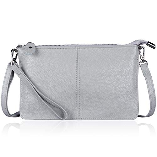 (Befen Women's Smartphone Leather Wristlet Crossbody Wallet Clutch with Crossbody Strap/Wrist Strap - Light Gray)