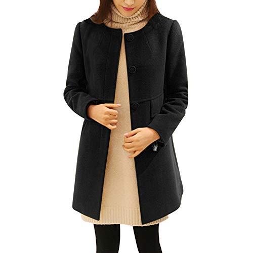 (Sttech1 Women Simple Style Long Round Neck Collar Woolen Coat Jacket Work Suit Plus Size S-5XL)