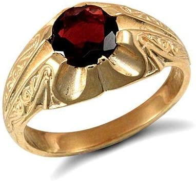 'Garnet Ring Men''s Garnet Solitaire Ring Yellow Gold Ring Gents Garnet Ring'