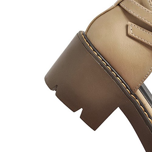 Envoltura Sandalias de Forro punta Gatito Sandalias Albaricoque de uretano Hebilla tobillo a mujer cuero en frío SLC03538 para prueba suave agua Talón cerrada AdeeSu con de 4zx68wzc