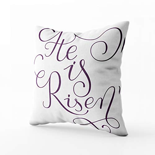 (HerysTa Easter Home Decorative Cotton Pillow Covers 18X18inch Invisible Zipper Cushion Cases He Phrase Easter Greeting Card Modern Calligraphy Risen Square Sofa Bed)