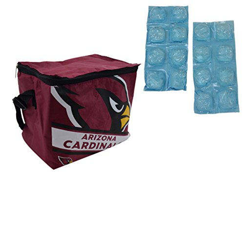 NFL Shop Collapsible Insulated Lunch Bag with Re-freezable Ice Packs Bundle (Arizona Cardinals)