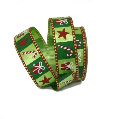 Cane Candy Star - Renaissance 2000 1.5-Inch x 10yd Green with Candy Cane/Star and Gift Ribbon