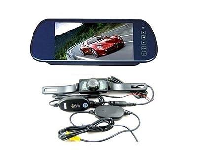 "(CMA0306+CRCA0211) 7"" Car LCD Monitor Mirror + Wireless Ir Reverse Car Rear View Backup Camera Kit"