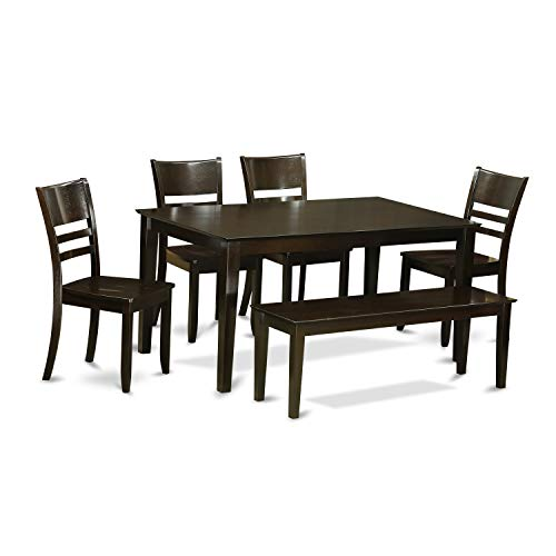 East West Furniture CALY6-CAP-W 6-Pc Dining Room Set with Bench – Dining Table and 4 ding Room Chairs and Bench