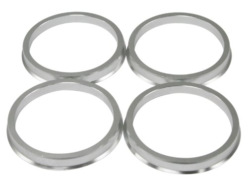 Hubcentric Rings (Pack of 4) - 57.1mm ID to 67.1mm OD - Silver Aluminum Hubrings - Only Fits 57.1mm Vehicle Hub & 67.1mm Wheel Centerbore