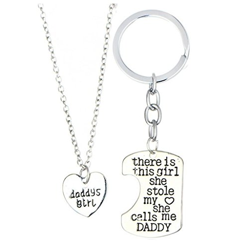 Dreamhomead Father Daughter Keyring Keychain Daddys Girl Pendant Necklace Set Father's Day Gift Birthday Gifts With a Velvet Bag