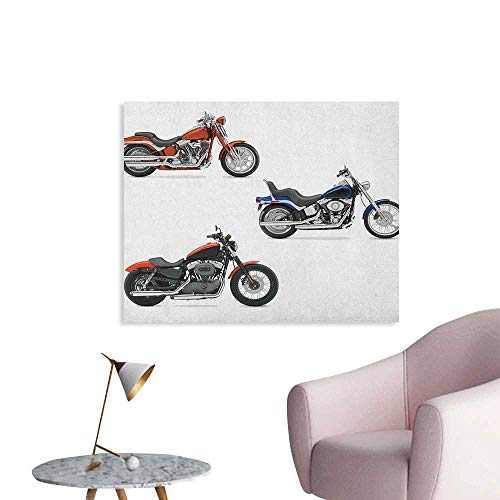 (Anzhutwelve Motorcycle Wallpaper Illustration of Three Motorcycles Freedom Transport Risky Extreme Sports Theme The Office Poster Orange Black W36 xL32)